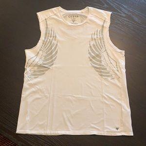 Men's GUESS white sleeveless cut off Wing Tee XL
